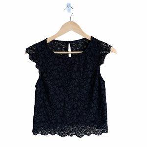 Aritzia Talula Black Lace Short Sleeve Top Small